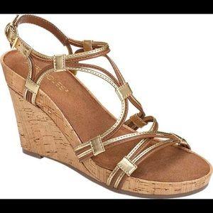 Aerosoles Gold Real Plush Cork Wedge Sandals 6.5